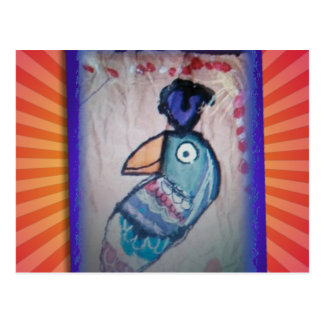 MEXICAN PARROT PAINTING POSTCARD