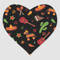Mexican pattern heart sticker