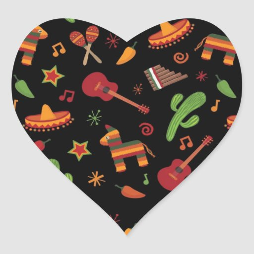 Mexican pattern heart stickers