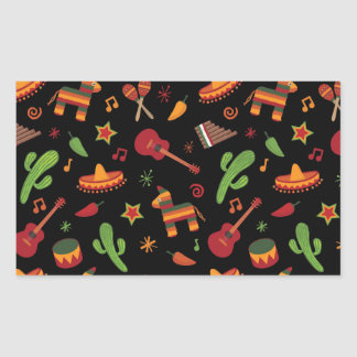 Mexican pattern rectangle stickers