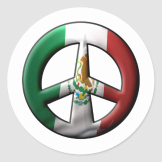Mexican Peace Sign Classic Round Sticker