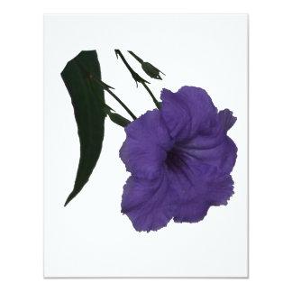 """Mexican Petunia cutout flower 4.25"""" X 5.5"""" Invitation Card"""