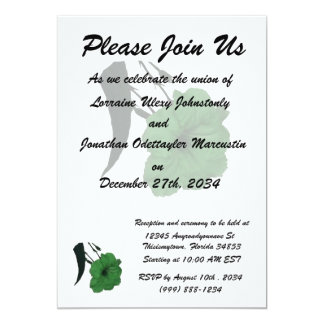 """Mexican Petunia green colorized flower 5"""" X 7"""" Invitation Card"""