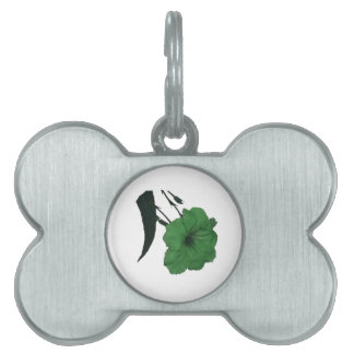 Mexican Petunia green colorized flower Pet ID Tags
