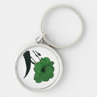 Mexican Petunia green colorized flower Silver-Colored Round Keychain