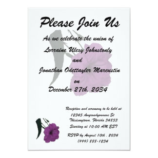 """Mexican Petunia pink colorized flower 5"""" X 7"""" Invitation Card"""
