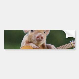 mexican pig - pig guitar - funny pig bumper sticker
