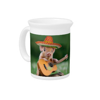 mexican pig - pig guitar - funny pig drink pitcher