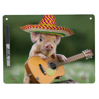 mexican pig - pig guitar - funny pig dry erase board with keychain holder