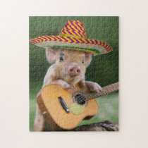 mexican pig - pig guitar - funny pig jigsaw puzzle