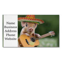 mexican pig - pig guitar - funny pig magnetic business card