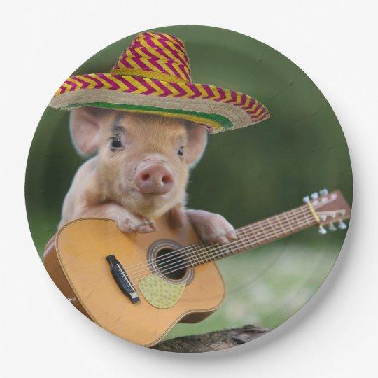 mexican pig - pig guitar - funny pig paper plate | Zazzle.com