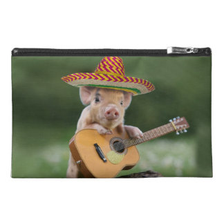 mexican pig - pig guitar - funny pig travel accessory bag