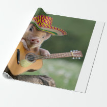 mexican pig - pig guitar - funny pig wrapping paper
