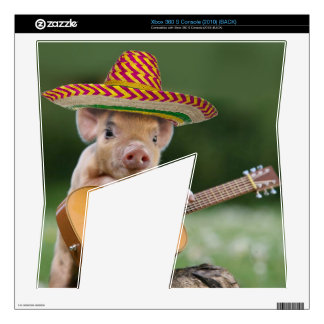 mexican pig - pig guitar - funny pig xbox 360 s console skin