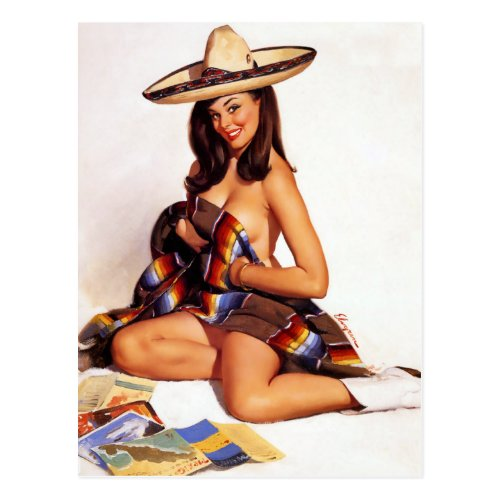 Mexican Pin Up Postcard