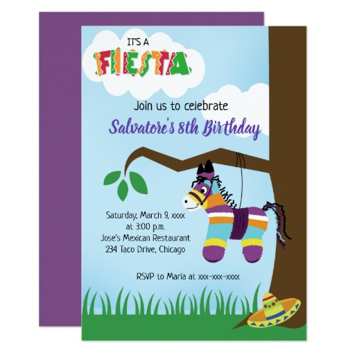 Mexican Pinata Fiesta Any Age Birthday Invitation