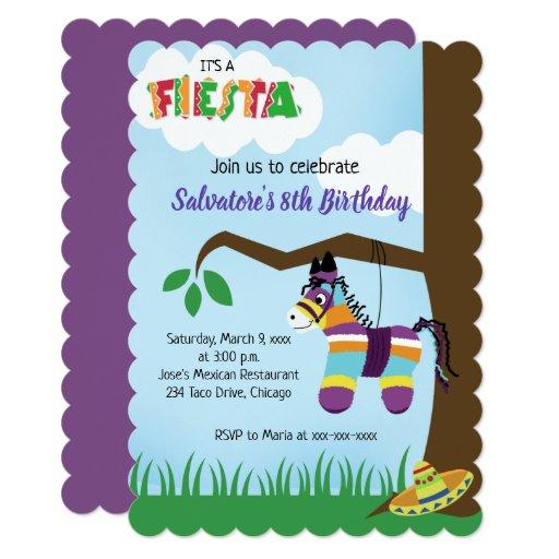Mexican Pinata Fiesta Any Age Birthday Invitation