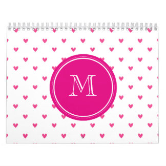 Mexican Pink Glitter Hearts with Monogram Calendar