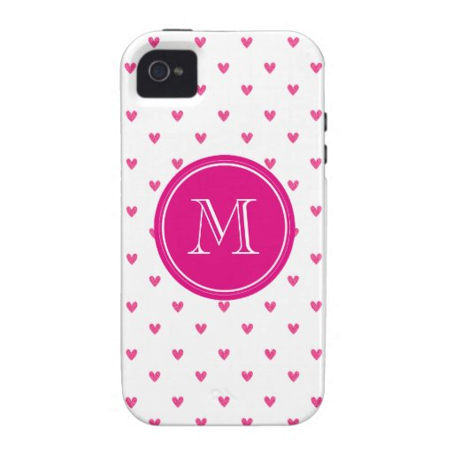 Mexican Pink Glitter Hearts with Monogram Case-Mate iPhone 4 Covers