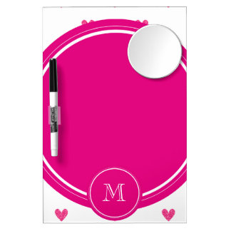 Mexican Pink Glitter Hearts with Monogram Dry-Erase Board