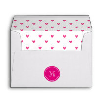 Mexican Pink Glitter Hearts with Monogram Envelope