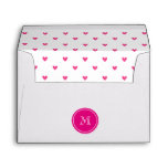 Mexican Pink Glitter Hearts with Monogram Envelopes