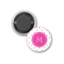 Mexican Pink Glitter Hearts with Monogram Magnet