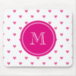 Mexican Pink Glitter Hearts with Monogram Mouse Pad