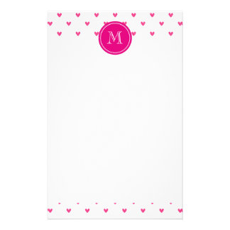 Mexican Pink Glitter Hearts with Monogram Stationery Paper