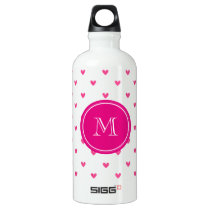 Mexican Pink Glitter Hearts with Monogram Water Bottle