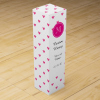 Mexican Pink Glitter Hearts with Monogram Wine Box