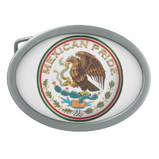 Mexican Pride (Eagle from Mexican Flag) Oval Belt Buckle
