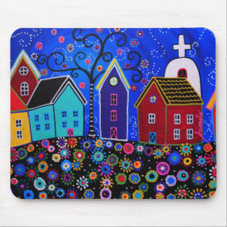 MEXICAN PUEBLO II TOWN PRISARTS PAINTING MOUSE PAD