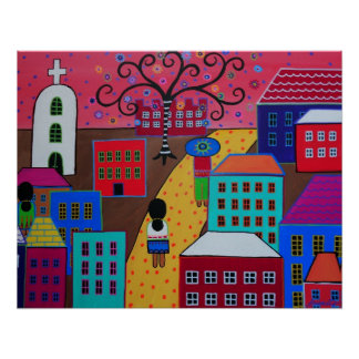MEXICAN PUEBLO III TOWN PRISARTS PAINTING POSTER