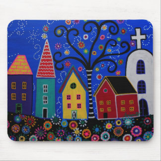 MEXICAN PUEBLO TOWN PRISARTS PAINTING MOUSE PAD