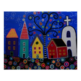 MEXICAN PUEBLO TOWN PRISARTS PAINTING POSTER