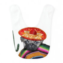 Mexican Pug dog Baby Bib