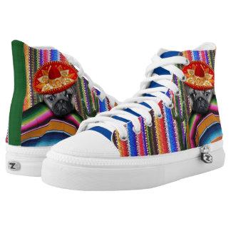 Mexican Pug Dog high top tennis shoes