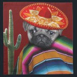 """Mexican pug dog napkin<br><div class=""""desc"""">add text or upload your own image</div>"""
