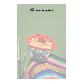 Mexican pug dog stationery