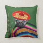 Mexican pug dog throw pillow