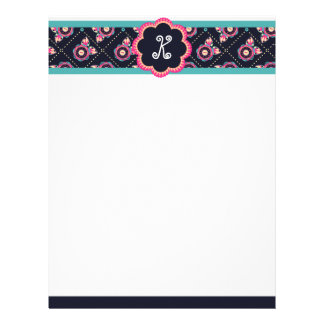 Mexican Quilted Floral Border Monogram Stationery Letterhead