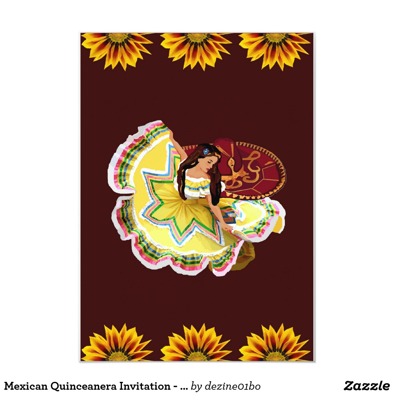 "Mexican Quinceanera Invitation - Burgundy 5"" X 7 ..."