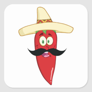 Mexican Red Pepper Square Sticker