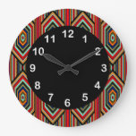 Mexican Red Teal Blue Orange Black Inca Stripe Large Clock