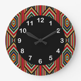 Mexican Red Teal Blue Orange Black Inca Stripe Large Clock