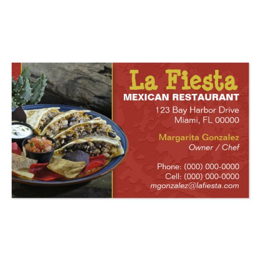 Mexican restaurant business card templates bizcardstudio for Mexican restaurant business cards
