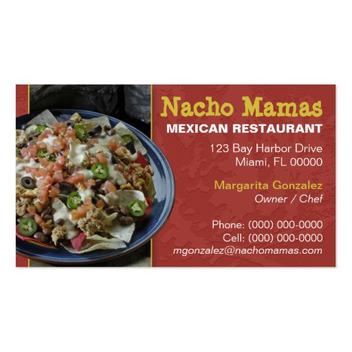 Mexican restaurant business card zazzle for Mexican restaurant business cards