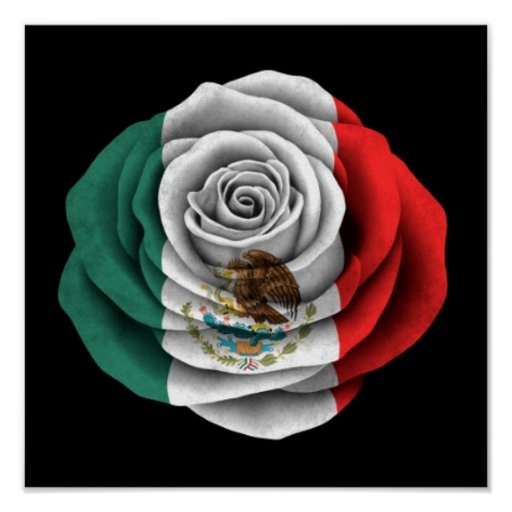 Mexican Rose Flag on Black Print